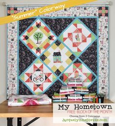 My Hometown Free Block of the Month - choose from applique, hand embroidery, or just piecing and 2 color ways, Spring and Summer! JacquelynneSteves.com House Quilt Patterns, Quilt Patterns Free, Applique Patterns, Pattern Blocks, Quilting Tutorials, Quilting Projects, Sewing Projects, Hand Applique, Machine Applique