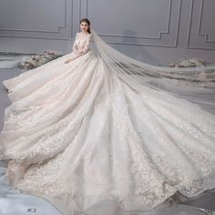 Elegant Champagne Wedding Dresses 2019 A-Line / Princess Scoop Neck Pearl Appliques Lace Flower Long Sleeve Backless Royal Train Western Wedding Dresses, Sexy Wedding Dresses, Princess Wedding Dresses, Wedding Gowns, Backless Wedding, Weeding Dresses, Ball Gowns Evening, Bride Gowns, Custom Dresses