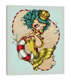 Mermaid and The Lifesaver - Nautical Pinup Girl