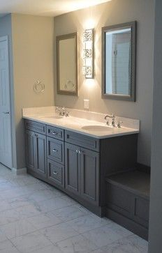 Broadmoor cabinetry in flint (Mid Continent) Transitional Doors, Transitional Bathroom, Kitchen Cabinet Makers, Kitchen Cabinets, Mid Continent, Benjamin Moore Gray, Sherwin Williams Gray, Yellow Bathrooms, Beautiful Bathrooms