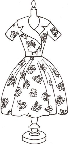 "Free redwork desing ""rose dress"" coloring page Applique Patterns, Embroidery Applique, Cross Stitch Embroidery, Embroidery Designs, Colouring Pages, Coloring Books, Machine Silhouette Portrait, Rose Dress, Digi Stamps"