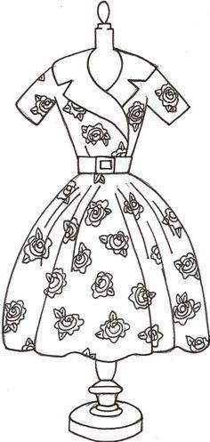 """Free redwork desing """"rose dress"""""""