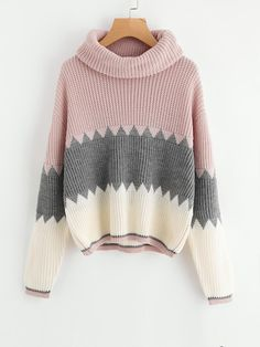 To find out about the Roll Neck Color Block Jumper at SHEIN, part of our latest Sweaters ready to shop online today! Roll Neck Jumpers, Roll Neck Sweater, Long Sleeve Sweater, Loose Sweater, Color Block Sweater, Pullover Sweaters, Ideias Fashion, Knitwear, Cute Outfits