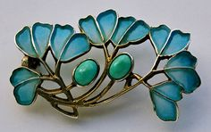 Jugendstil Brooch -Levinger & Bissenger c1900 - silver plique a jour & turquoise  gorgeous!