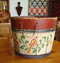 Antique FOLK ART Hand Painted PA DUTCH Butter Tub Wood BUCKET Distelfinks 1940's