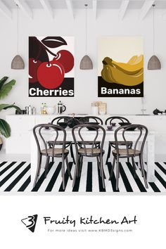 #fruitwallart decorates the black and white #kitchenanddining space. The #walldecor is published on #canvas and #poster . Please contact KBM D3signs for custom designs.