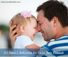 If one of your goals is to develop deeper connections with your children then I have 20 small actions for you. These suggestions will help you weave small moments of connection into your days.