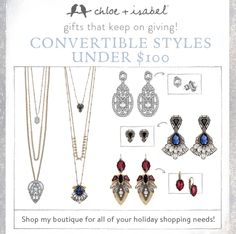 Check out my boutique for the convertible collections!  www.chloeandisabel.com/boutique/ljbijou #fashion #jewelry #holiday #gift #love #chloeandisabel
