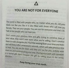 You are not for everyone