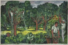 Apple orchard, Kent - lithograph by John Minton, from the Lyons Tea Shops collection. John Minton, Vanessa Bell, Royal College Of Art, London Art, Old English, Conceptual Art, Art Market, Some Pictures, Contemporary Art