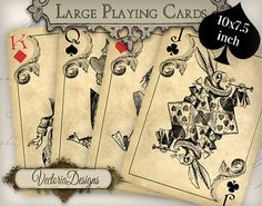 Large Alice in Wonderland Playing Cards images printable instant download digital collage sheet VD0603