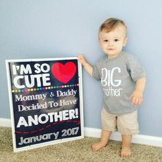 Pregnancy Announcement, Pregnancy Chalkboard Sign, Baby Reveal, Baby Announc… – My Everything 2nd Pregnancy Announcements, Big Brother Announcement, Creative Pregnancy Announcement, Cute Pregnancy Announcement, Baby Number 2 Announcement, 2nd Baby, Baby Love, Couple Ulzzang, Second Pregnancy