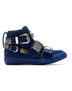"Toga Pulla Blue Carved Hardware High-Top Sneakers, $690 at Ssense. For the aspring street-style icon, Toga Pulla's belted and buckled velvet sneaker has ""Koo detail shot"" written all over it."