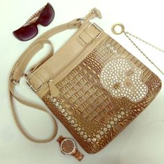 HP-Crocodile Print Crossbody / Shoulder Bag Nude with gold accents and heavy rhinestone studded crossbody/shoulder bag.  Rich and very ornate, textured crocodile print on vegan leather. Long, adjustable strap and bold silver hardware. Convenient zip ppered pockets on front and back. 10.5x11x1. Offers welcome. Bags Shoulder Bags