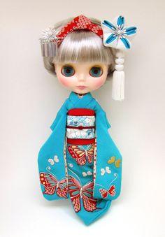 Blythe in a Kimono Blythe Dolls, Girl Dolls, Barbie Dolls, Annette Himstedt, Kawaii Doll, Gothic Dolls, Asian Doll, Cute Dolls, Doll Face