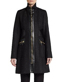 Faux Leather-Trim Tweed Coat
