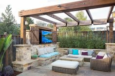 Image result for pergola with fireplace