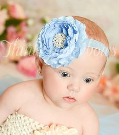 Blue Baby Headband,Baby girl headband,baby headbands,girl headband,newborn flower headband,Christening Headband,Baptism Headband,Hair bows.