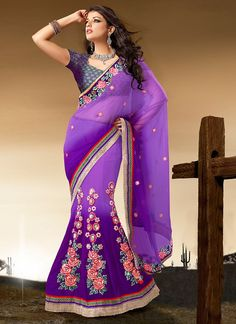 Buy this Purple Color Net Lehenga Saree on Special Discount of 15%. Use this Voucher [EIDSPCL15] at checkout.  Visit Now --  http://www.gravity-fashion.com/10427-purple-color-net-lehenga-saree.html