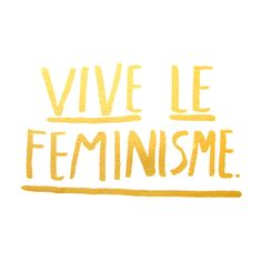 """Yay for feminism. Yay for glitter. Gold glitter print on white paper. 11x14"""", silk screened print"""