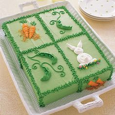 Spring Garden Cake with cute bunnies and carrots