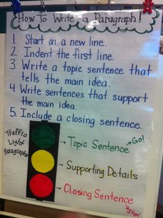 Mrs. Prince and Co.: Stoplight Paragraphs. This is just the anchor chart. The whole lesson is hands on paragraph writing. A great idea that incorporates writing using all styles of learning.