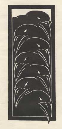"Crows Ravens:  ""The Seven #Ravens,"" by Steve Neville, lino-cut, 2005...."