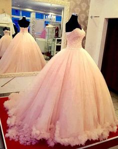 Custom Charming Blush Pink Prom Dress,Sweetheart Quinceanera Dress,Hands made Flowers Ball Gown,Sweetheart weeding dress