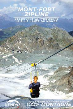 Venez tester la tyrolienne la plus haute du monde!  Avec 1,4 km de descente à plus de 100 km/h, le tout à 3300m d'altitude, c'est une expérience unique qui vous attend à Nendaz. Mount Everest, Altitude, Nature, Travel, Unique, Zip Lining, Mountain, Switzerland, Everything