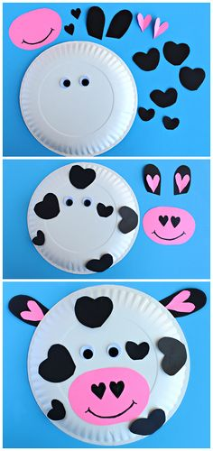 I love this cow craft. perfect for farm theme! Let's Learn S'more! I love this cow craft. Valentine's Day Crafts For Kids, Valentine Crafts For Kids, Daycare Crafts, Toddler Crafts, Preschool Crafts, Art For Kids, Valentines Crafts For Kindergarten, Children Crafts, Free Preschool