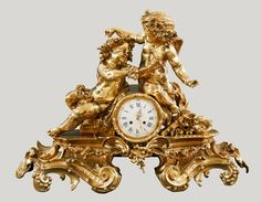 Rococo mantel clock with two putti by Anonymous from France, mid-18th century, Muzeum Narodowe w Kielcach (MNKI)