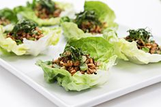 Lettuce boats with spicy shiitake mushrooms and basil chiffonade - food and style