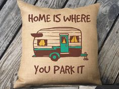 Chalkboard Camper Trailer Outdoor Throw Pillow