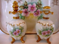 Beautiful Limoges Porcelain Three Piece Dresser Set ~ Tray  Perfume Bottles ~ Hand Painted with Pink Roses ~ Artist Signed ~ UNION CERAMIQUE (Limoges, France) - ca 1909 - ca 1938