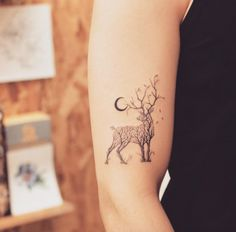Tree-themed deer tattoo by Grain