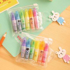 6pcs/lot Mini Creative Kawaii Plastic Marker Gel Highlighter Pen Candy Colors Oblique Pen Gift Stationery Office School Supplies