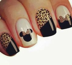 Uñas con animal print más unhas lindas, unhas fáceis, unhas do pé, unhas Fabulous Nails, Gorgeous Nails, Pretty Nails, Amazing Nails, Disney Acrylic Nails, Cute Acrylic Nails, Leopard Nail Art, Mickey Nails, Hot Nails
