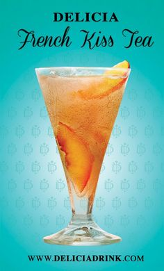 French Kiss Tea -      3 parts Delicia Peaches & Cream     2 parts iced tea     1/8 lb. sugar     Fresh or Frozen peaches   Directions Combine liquid ingredients. Add sugar to taste (if you're Southern you may want to add a bit more). Stir briskly then pour over ice. Add fresh or frozen peaches and serve.