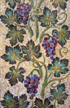 I am pinning this as a reminder to no longer avoid grape patterns in embroidery (since I love to eat AND embroider them) but also the need to make them different shades and hues of re,purple etc. Mosaic Artwork, Mosaic Wall Art, Mosaic Tiles, Stone Mosaic, Mosaic Glass, Glass Art, Stained Glass, Mosaic Crafts, Mosaic Projects