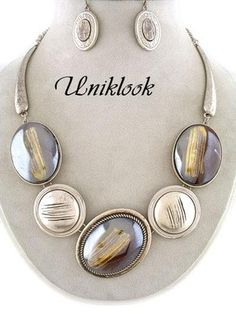 21.99$ Chunky Elegant Jewelry Silver Decor Statement Necklace Earrings Fashion Design