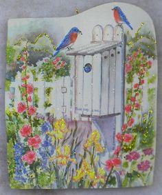 Bluebird House Fence Flowers Birds Vtg Greeting Card Glittered Wood Ornament