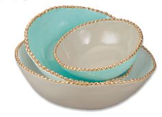 Studded Stacking Bowls Aqua Luxe by Magenta