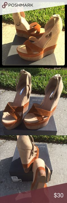Sophisticated brown/tan suede wedge sandals, Sz 8 Super chic brown/tan suede wedge sandals from Bakers, size 8. Worn once, see image for small spot on back of heel and bottom of shoe. Comes with original box, these are super clean ladies, don't miss out!  They go great with both casual and wear-to-work looks and are very comfortable despite the height!  I love them but I hate wearing brown, lol. Please give them a better home! Bakers Shoes Wedges