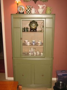 Ugly old China cabinet painted with Bay Leaf Chalk Paint! Luv.