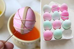 6 Adorable Easter Decoration Ideas for Decor Lovers Who Want to Welcome Spring in Fresh Colors : You can create lines with rubber bands for your Easter eggs. Tie Dyed Easter Eggs, Easter Egg Designs, Coloring Easter Eggs, Egg Coloring, Diy Ostern, Hoppy Easter, Easter Party, Easter Table, Egg Decorating