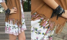 Look boho chic: Vestido floral + Colete de franja + Bota marrom