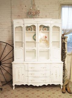 Painted Cottage Chic Shabby White One of A Kind by paintedcottages, $795.00