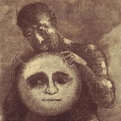 Detail from 'Devil,' Odilon Redon, charcoal, 1877.