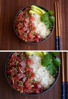 Ahi Tuna Poké — Cooking with Cocktail Rings - The Best For Dinner For Two Recipes Sushi Recipes, Asian Recipes, Cooking Recipes, Healthy Recipes, Ahi Tuna Recipe Healthy, Tuna Belly Recipe, Tuna Steak Recipes, Veg Recipes, Healthy Drinks