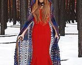"Gothic vampire crochet  lace cape  ""The Twilight Saga. My interpretation"" in violet, amethyst, blue, dark blue sheep wool"